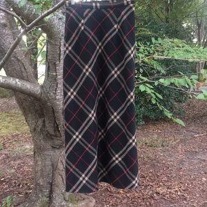 VTG Plaid Wool Blend Maxi Skirt